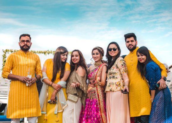 indian wedding photo diaries | Printed Lehenga  & a Gorgeous Off Shoulder Blouse - Megnha & Devansh