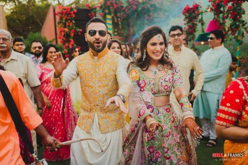 bride in stunning lehenga   groom in yellow bandi   Major Mehendi Outfit Goals