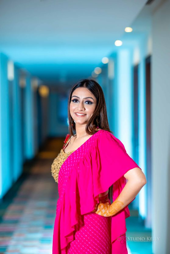 pink outfit for the bride | sangeet and cocktail night