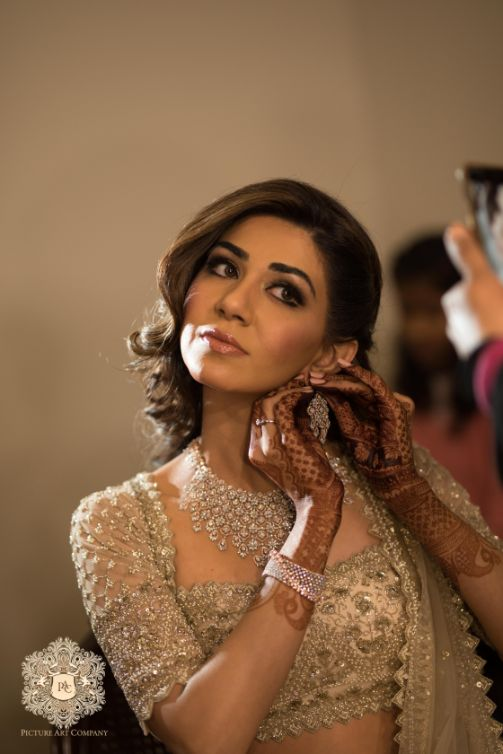 indian bride getting ready photos   Mirror Work Lehenga for Mehendi