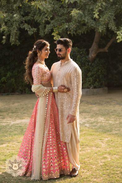 mehendi ceremony photos   grooms outfit for mehendi   Mirror Work Lehenga for Mehendi