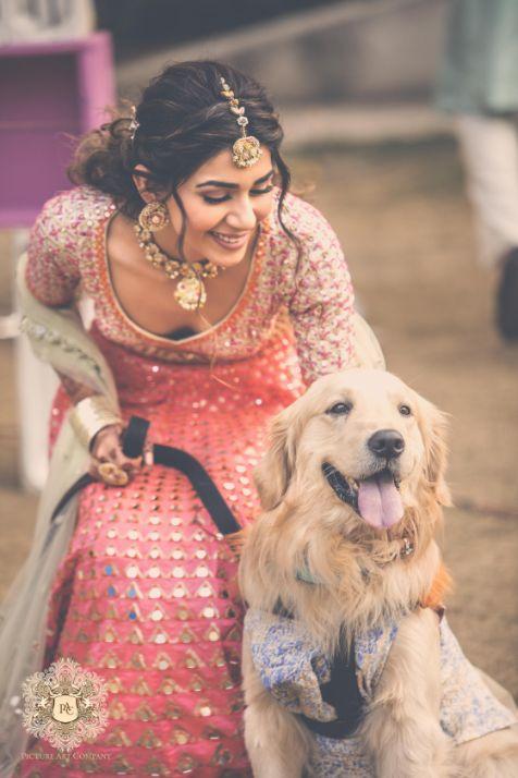 indian bride | photo with pets | Mirror Work Lehenga for Mehendi