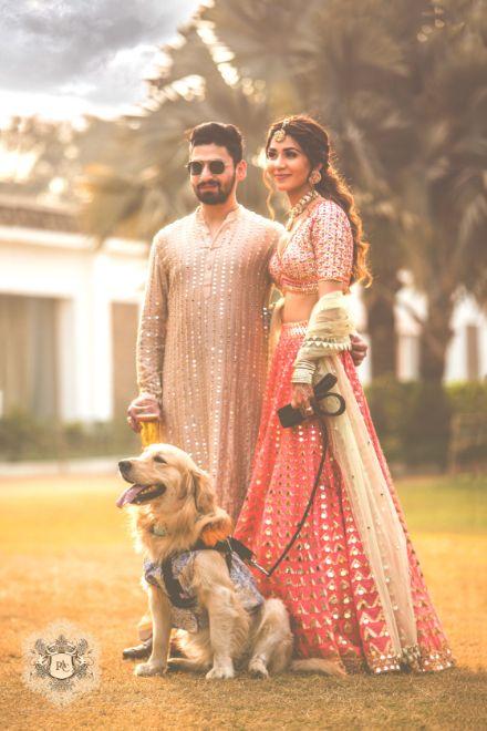indian couple photos with pet   Mirror Work Lehenga for Mehendi