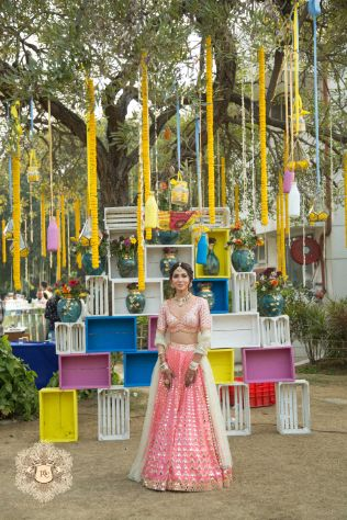 stunning decor   mehendi ceremony   Mirror Work Lehenga for Mehendi