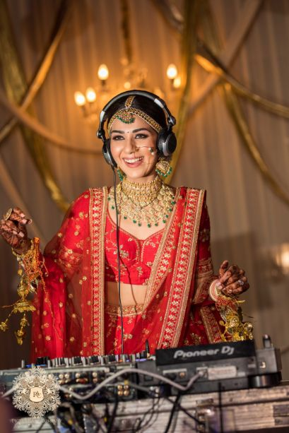 indian bride playing some music