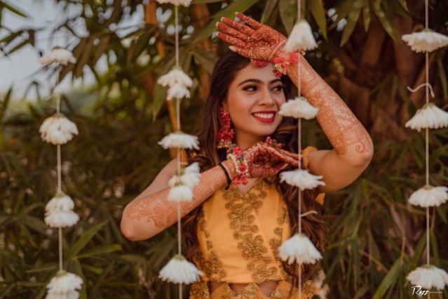 bridal poses   indian haldi ceremony