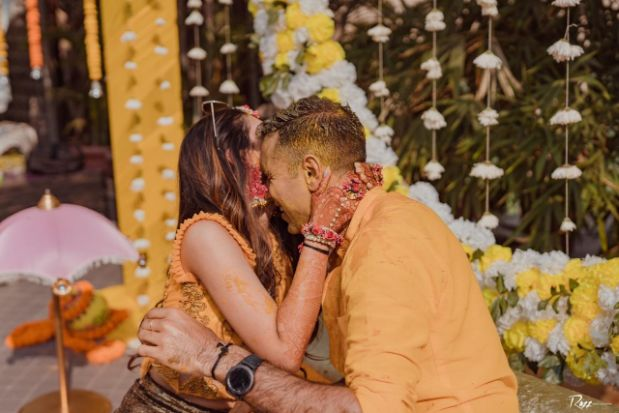 forever | love | couple photo shoot | Haldi Ceremony with A Pool Party Theme