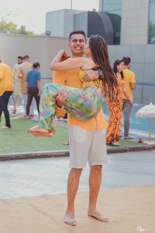 haldi ceremony   candid captures   Haldi Ceremony with A Pool Party Theme