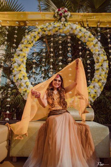 haldi day | celebration | bridal seat | decor goals | Haldi Ceremony with A Pool Party Theme