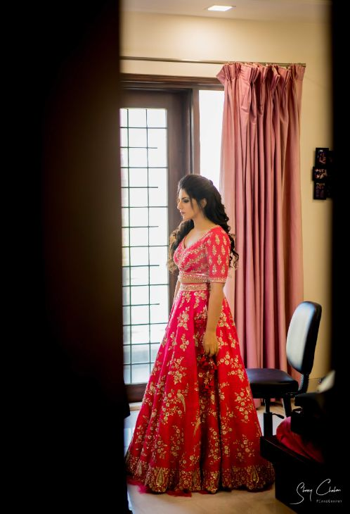 getting ready photo shoot | indian bride | Anita Dongre Wedding Lehenga