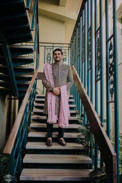 green sherwani for the groom with pink stole | Stunning Colourful Wedding Lehenga