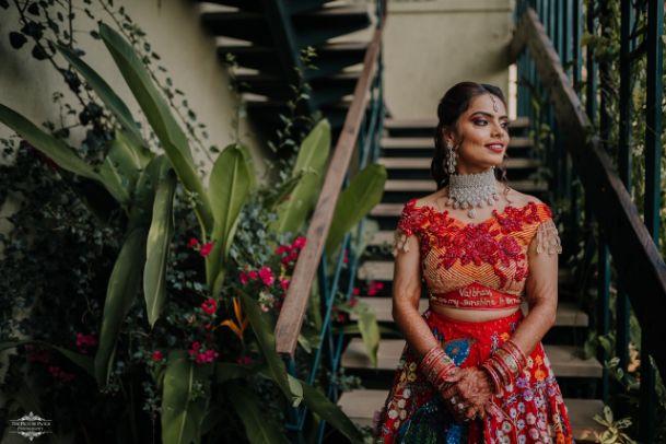indian bridal photo shoot ideas | Stunning Colourful Wedding Lehenga