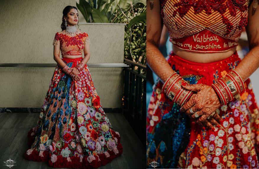 indian wedding in goa witha stunning colourful wedding lehenga