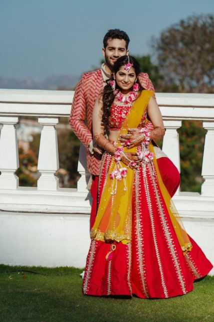 mehendi ceremony outfits for the couple