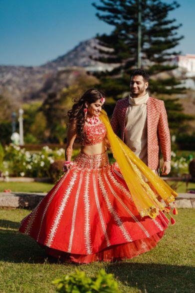 beautiful red lehenga | mehendi day outfit