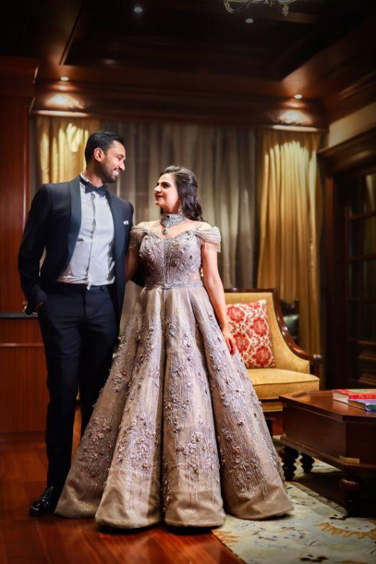 india wedding gown and tuxedo | bride groom in formal  | engagement gown  destination wedding mehendi decor ideas