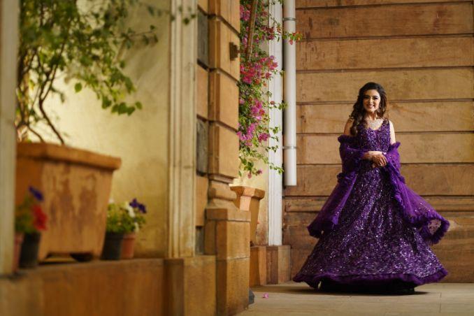 stunning shimmer purple lehenga for the bride