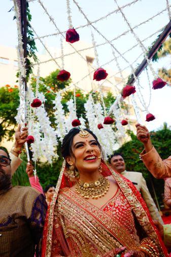 bridal entry   lovely phoolon ki chadar   Prettiest Mumbai Wedding