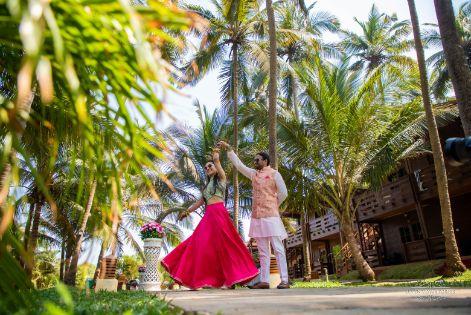 couple twirling shots | Cutest Haldi Ceremony