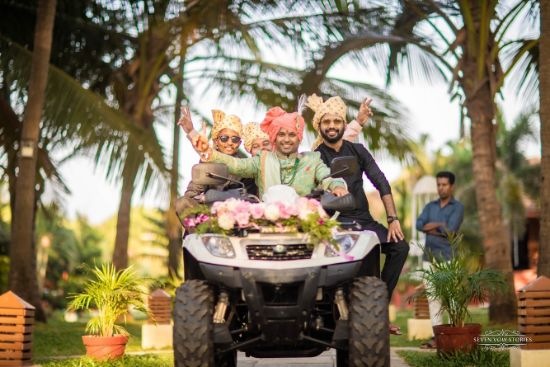 groom entry with friends on an ATV