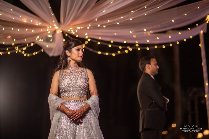indian brides stunning silver outfit for the ring ceremony day