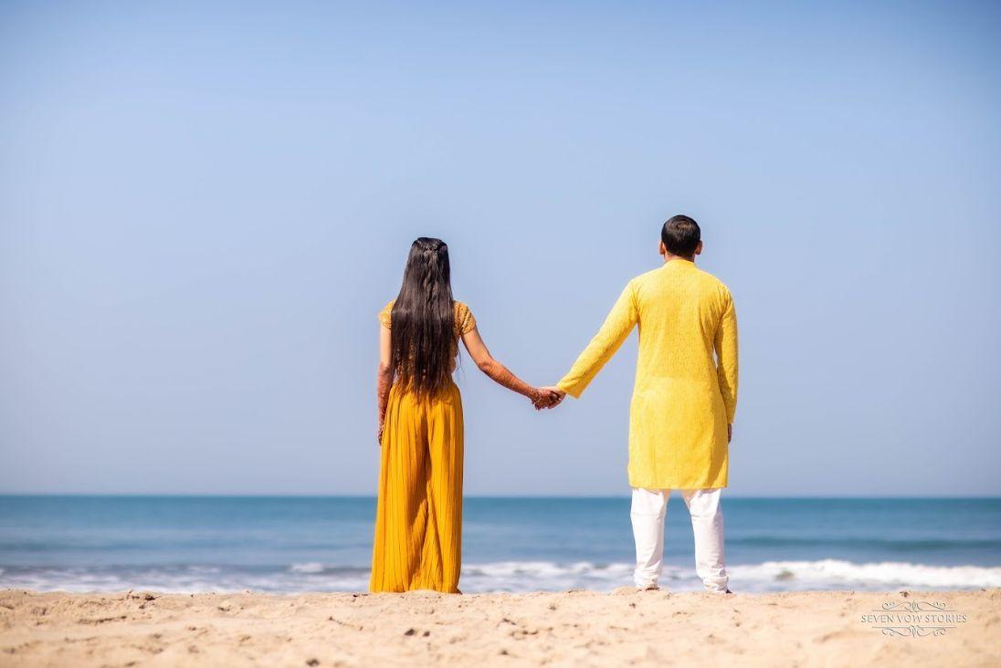 indian couple photo shoot for haldi ceremony | Cutest Haldi Ceremony