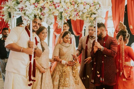 beautiful phoolon ki chadatr for a bridal entry | Wedding at Ramoji Film City
