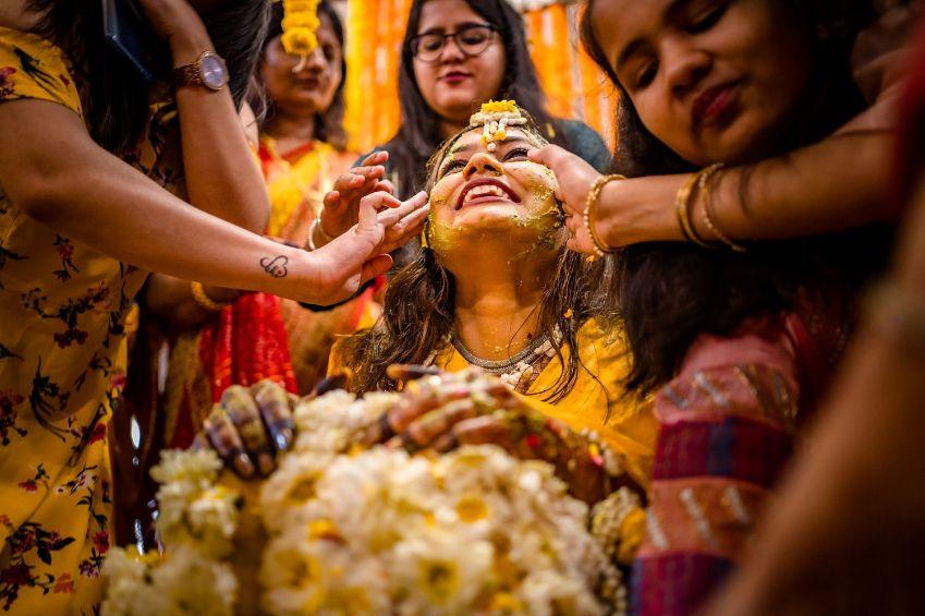 indian bride and bridesmaid , haldi moment with indian bridesmaid, real flower lehenga