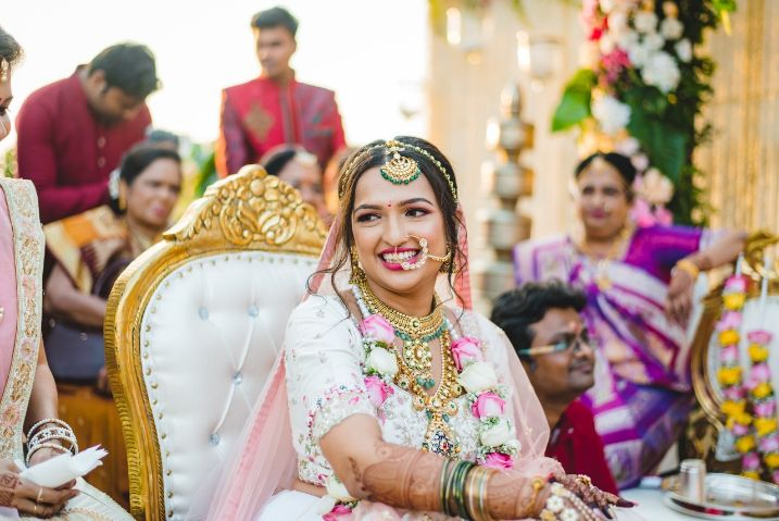 indina mehendi function , couple candid shots , bride hairstyle , floral hairstyle , indian wedding , indian bride , indian groom , hairstyle ideas, bridal hairdo , wittyvows