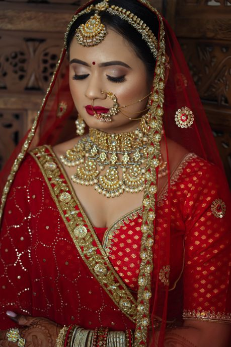 indian wedding , wittyvows , indian bride , red lehenga , bridal look