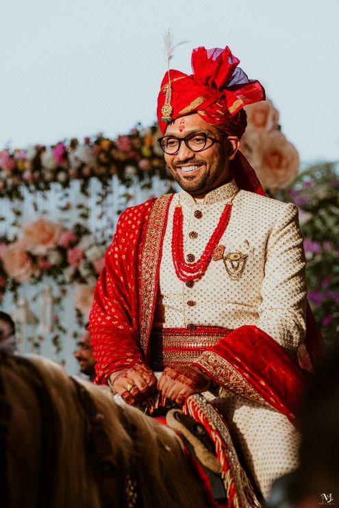 indian groom , Rajasthani wedding   DIY lehenga design   Bridal hairdo   footear   boss bride customised   wittyvows real wedding  