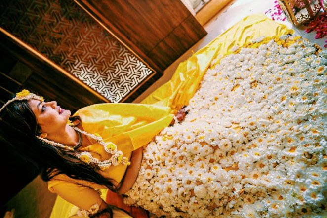 indian wedding , indian bride and groom , wittyvows , weddings , flower lehenga | haldi ceremony | outfit goals
