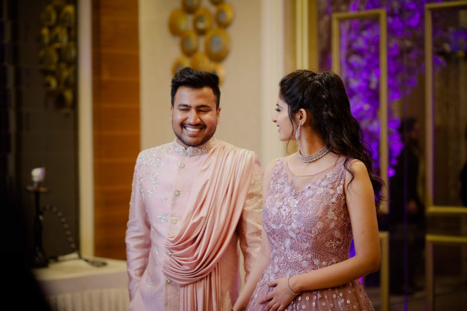 engagement gown   pink gown  twinning couple
