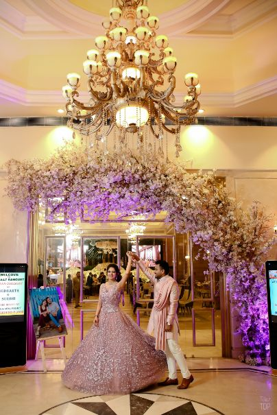 engagement gown | delhi wedding | pink gown| twinning couple