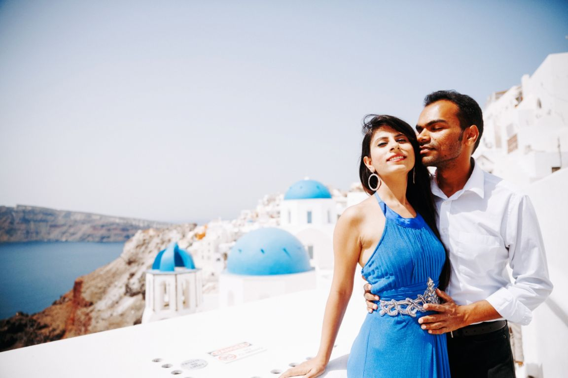 destination pre wedding shoot , greece , indian pre wedding shoot , indian wedding , wedding blog , indian couple , wittyvows , lehenga , indian bride off shoulder gown | mehendi outfit | pre wedding shoot in greece , pink chooda