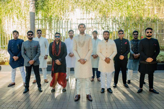 indian bridesmaid , indian groomsmen , destination wedding | wedding in Goa | beachside mandap | mehndi look