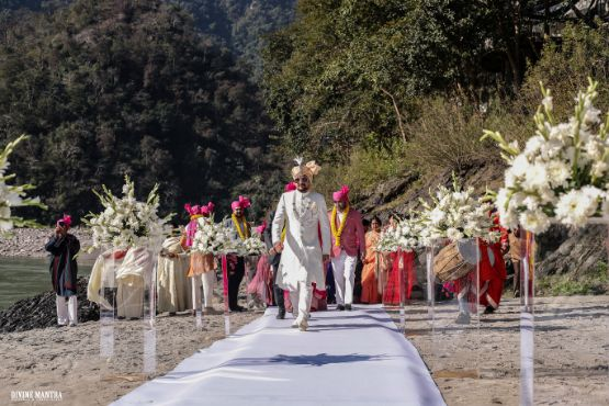 destination wedding , indian wedding , wittyvows , sister of the bride , hill station wedding | wedding in Rishikesh | riverside mandap