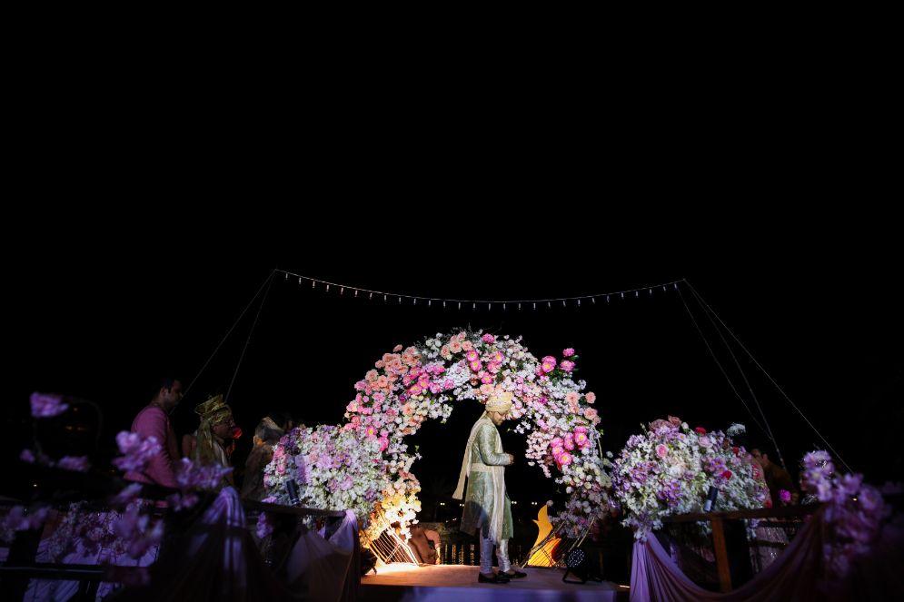 wittyvows , gaurav gupta gown , Indian bride , weddings , big fat indian wedding , red lehenga , sabyasachi bride indian destination wedding , lakeside wedding | wedding in hua hin | bridal entry in a boat