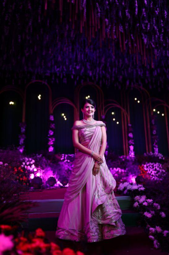 gaurav gupta gown , Indian bride , weddings , big fat indian wedding , red lehenga , sabyasachi bride indian destination wedding , lakeside wedding | wedding in hua hin | bridal entry in a boat