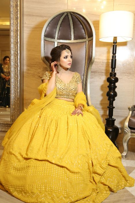 indian wedding , yellow lehenga , sister of the bride outfits , roka lookk, engagement outfit