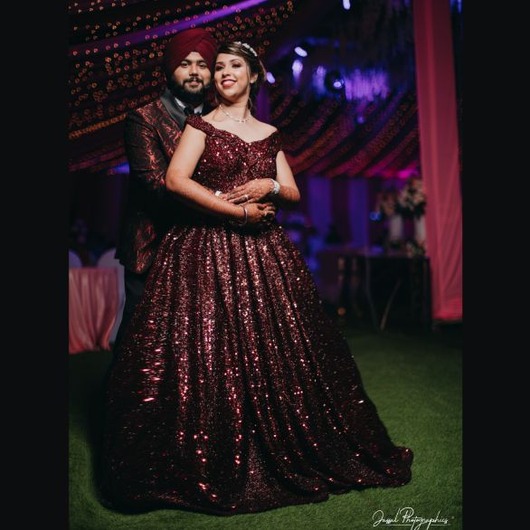 indian wedding photography | beautiful sikh couple | Sparkling Red Gown for the Cocktail
