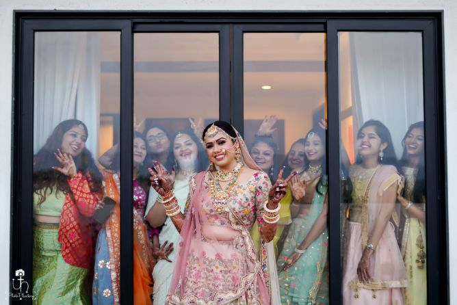 wedding shoot poses that are in trend | photo with indian bridesmaids | Beach Wedding in Alibaugh