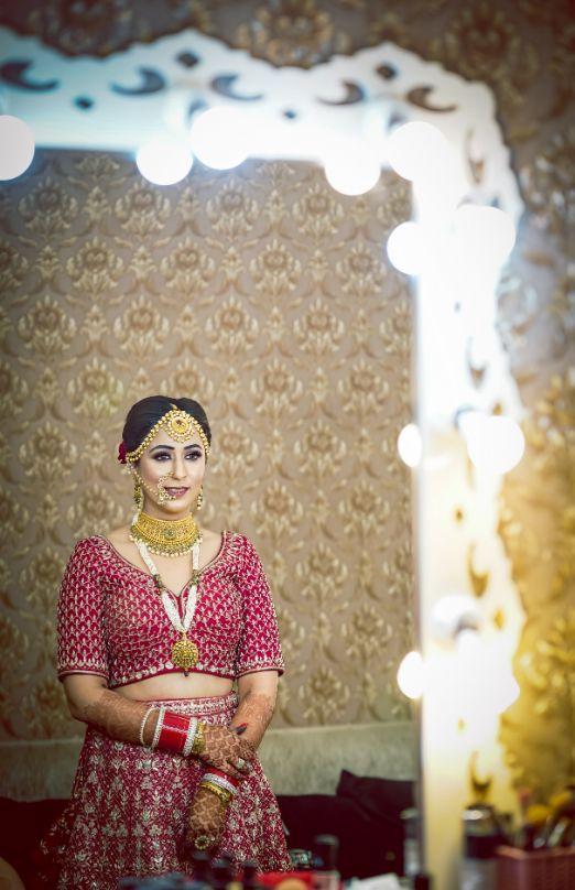 indian wedding , Ludhiana wedding   Lehenga in red   Anita Dongre lehenga 