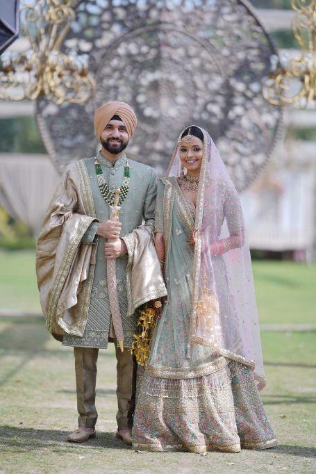 sikh couple , bridal portraits , indian bridal wear , indian wedding , pastel wedding , SEO - cross culture wedding  | couple outfits | bridal jewellery