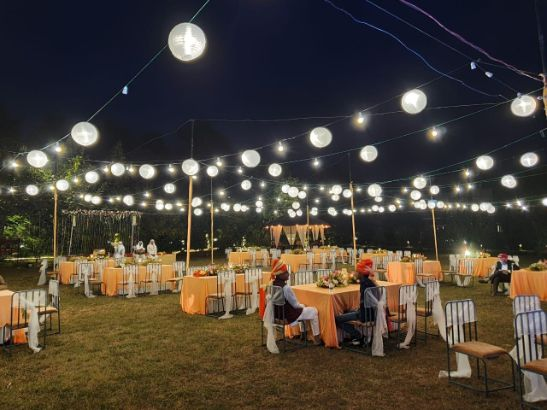 gorgeous indian wedding decor with fairy lights |