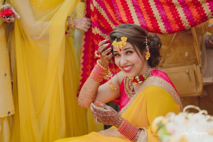 bride at her haldi ceremony | indian wedding rituals |