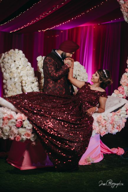 indian wedding diaries | indian wedding poses | Sparkling Red Gown for the Cocktail
