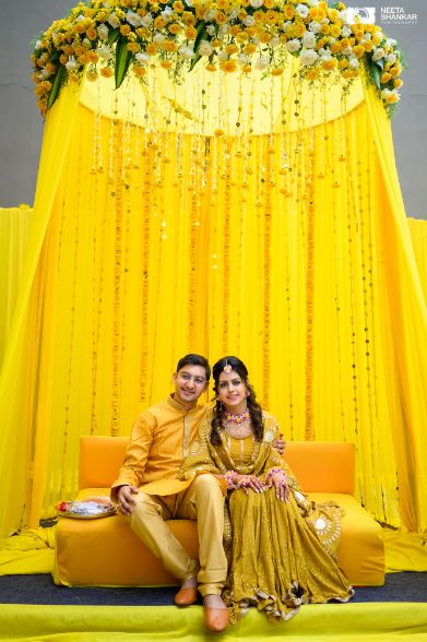 couple photography ideas | haldi day decor |