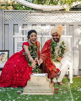 Bride in red | Weddings in backyard | Budget décor ideas