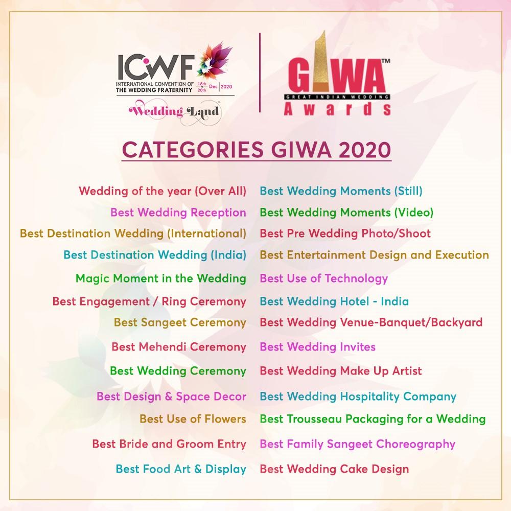 GIWA Awards to reward the best indian weddings  | award categories